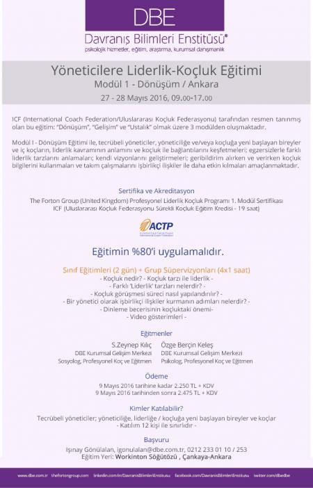 Yöneticilere Liderlik-Koçluk Eğitimi - Modül 1 Dönüşüm - Ankara